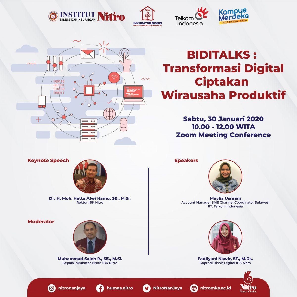 Inkubator Bisnis dan Prodi Bisnis Digital IBK Nitro Gandeng Telkomsel lakukan Webinar tentang Transformasi Digital